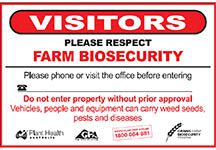 Grains farm biosecurity gate sign