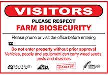 Grains farm biosecurity gate sign