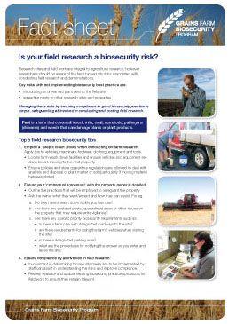 Grains field research risk Fact sheet